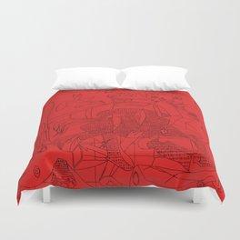 Picasso Line Art - Guernica (Red) Duvet Cover