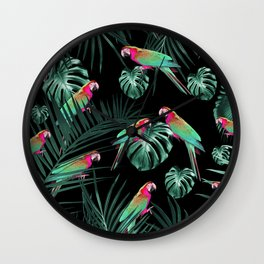 Parrots in the Tropical Jungle Night #1 #tropical #decor #art #society6 Wall Clock