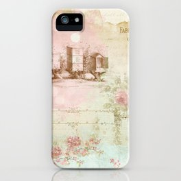 Pretty Vintage Pink Ephemera and Floral Collage iPhone Case