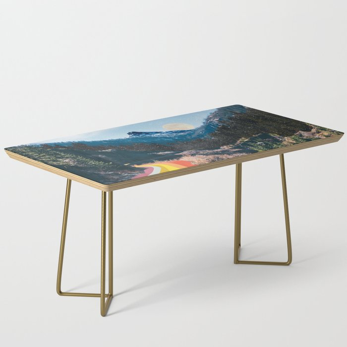 1960's Style Mountain Collage Coffee Table