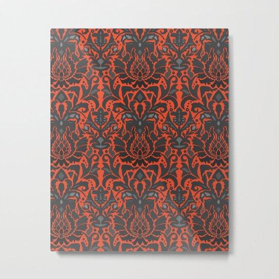 Aya damask orange Metal Print