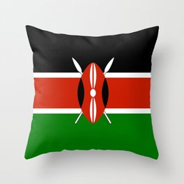 National flag of Kenya - Authentic version, to scale and color Throw Pillow