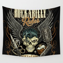 Rockabilly Rules Way of Life Wall Tapestry
