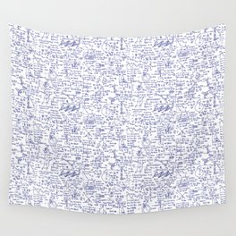 Physics Equations in Blue Pen Wall Tapestry