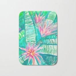 Pink Flowering Bromeliad Bath Mat
