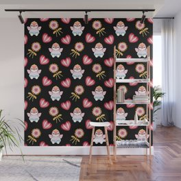 Copy of Lovely cute adorable baby penguins with flapping wings, retro vintage red lollipops Wall Mural