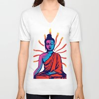 buddha V-neck T-shirts featuring Buddha by famenxt
