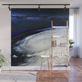Satellite View of Hurricane and Milky Way Digital Photography by Jéanpaul Ferro Wall Mural