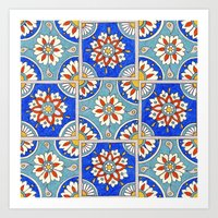 italian Art Prints featuring Italian Tiles by PeriwinklePeacoat