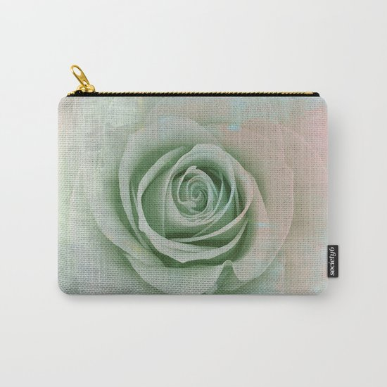 Elegant Painterly Mint Green Rose Abstract Carry-All Pouch