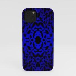 Openwork ornament of blue spots and velvet blots on black. iPhone Case