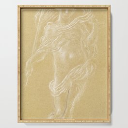 Flying Putto Supporting a Crown by Anton Domenico Gabbiani Serving Tray
