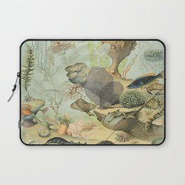 SEA CREATURES COLLAGE, OCEAN ILLUSTRATION Laptop Sleeve