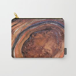 Hand drawn Watercolor Copper Glitter Stone and Ink Abstract Gem Glamour Marble Carry-All Pouch
