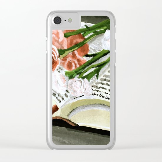 Flowers on Bible Painting Clear iPhone Case