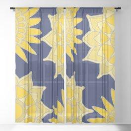 Sunshine yellow navy blue abstract floral mandala Sheer Curtain