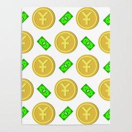 Chinese Yuan pattern background. Poster