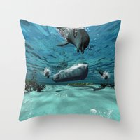 submarine Throw Pillows featuring Submarine  by nicky2342