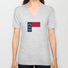 flag of north carolina-south,america,usa,Old North State,Tar Heel,North Carolinian,Charlotte,Raleigh Unisex V-Neck