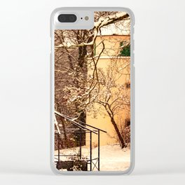 Wintry mood at the castle garden of Laupheim Clear iPhone Case