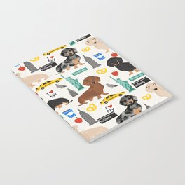 Dachshund dog breed NYC new york city pet pattern doxie coats dapple merle red black and tan Notebook