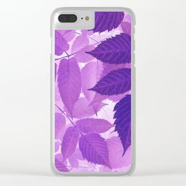 Ultra Violet Purple Leaves Clear iPhone Case