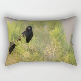 Great-tailed Grackle (Quiscalus mexicanus) perches in a Coyote Bush (Baccharis Pilularis) at sunrise Rectangular Pillow