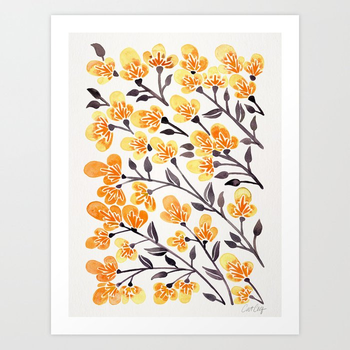 Cherry Blossoms – Yellow Palette Art Print