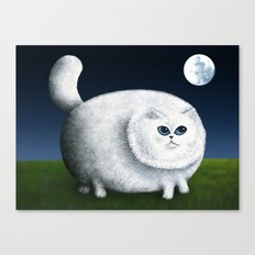 Fat Cat Looks at the Moon Canvas Print
