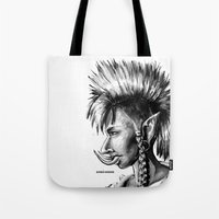 warcraft Tote Bags featuring Punk Troll by Georgia Goddard