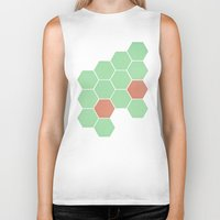 honeycomb Biker Tanks featuring Mint Honeycomb by Cassia Beck