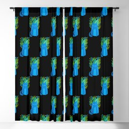Cat and foliage - blue, green and black background Blackout Curtain