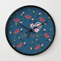 ukraine Wall Clocks featuring love UKRAINE by luiza13