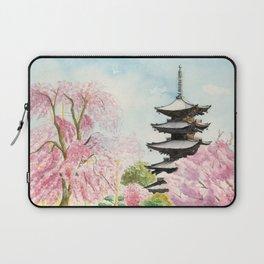Japanese Temple Watercolor Painting print by Suisai Genki , To-ji, Kyoto , Sakura , Cherry blossom Laptop Sleeve