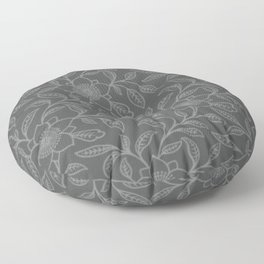 Neutral Gray Lace Floral Floor Pillow