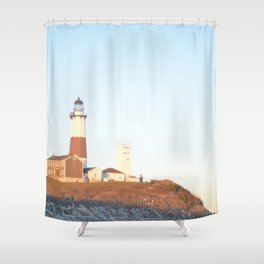 Sunset at Lighthouse in East Hampton Shower Curtain