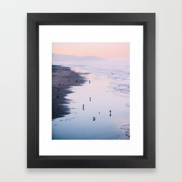 Pink Sunset at Ocean Beach Framed Art Print