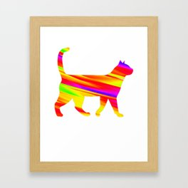 Rainbow Square Cat Inverted Fire Framed Art Print