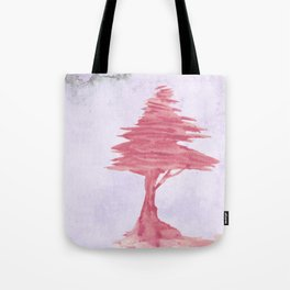 Red Tree watercolor on old paper Tote Bag
