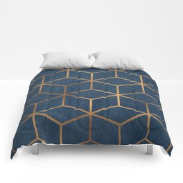 Dark Blue and Gold - Geometric Textured Cube Design Comforters