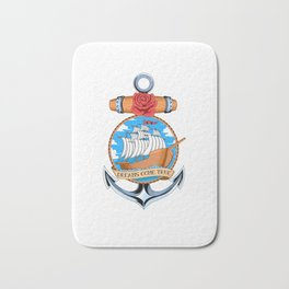 Boat Inside An Anker With A Rose - Vintage Sailing Bath Mat