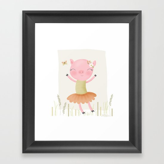 sweet dancing pig Framed Art Print