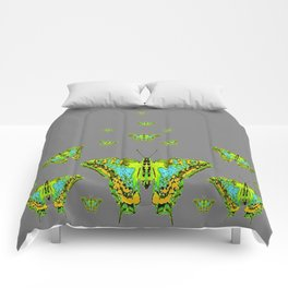 BLUE-GREEN-YELLOW PATTERNED MOTHS ON GREY Comforters