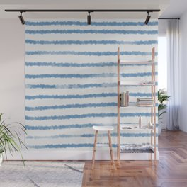 Watercolor stripes inspired by Hampton style Wall Mural