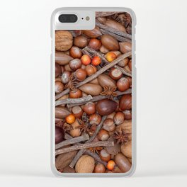 Festive nuts and spices background Clear iPhone Case