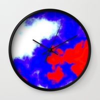 patriotic Wall Clocks featuring Patriotic Sky by Christy Leigh