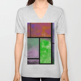 Textured Windows - Modern, abstract, textured painting Unisex V-Neck