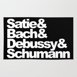 Satie and Bach and Debussy and Schumann, black bg Rug