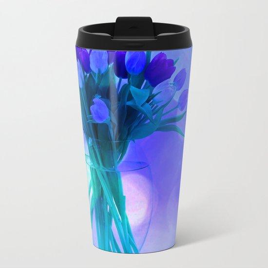 A Blue Bloom for Spring Metal Travel Mug