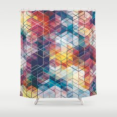 Cuben Curved #5 Geometric Art Print. Shower Curtain